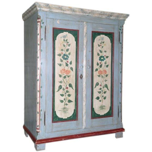 Scandinavian Swedish Furniture Folk Art Painting Painted Armoire Scandinavian Folk Art