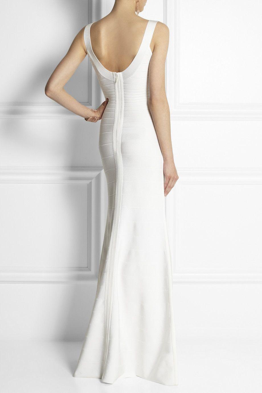 Herve leger white long bandage dress pic madame pinterest