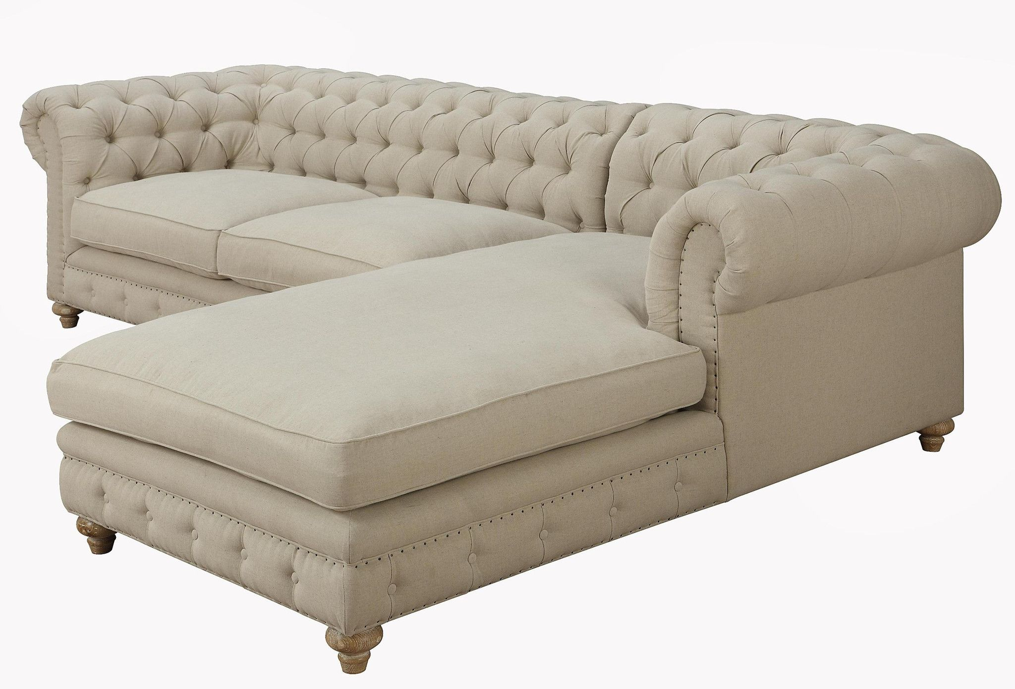 Chesterfield Linen Sectional Sofa / Couch   EMFURN