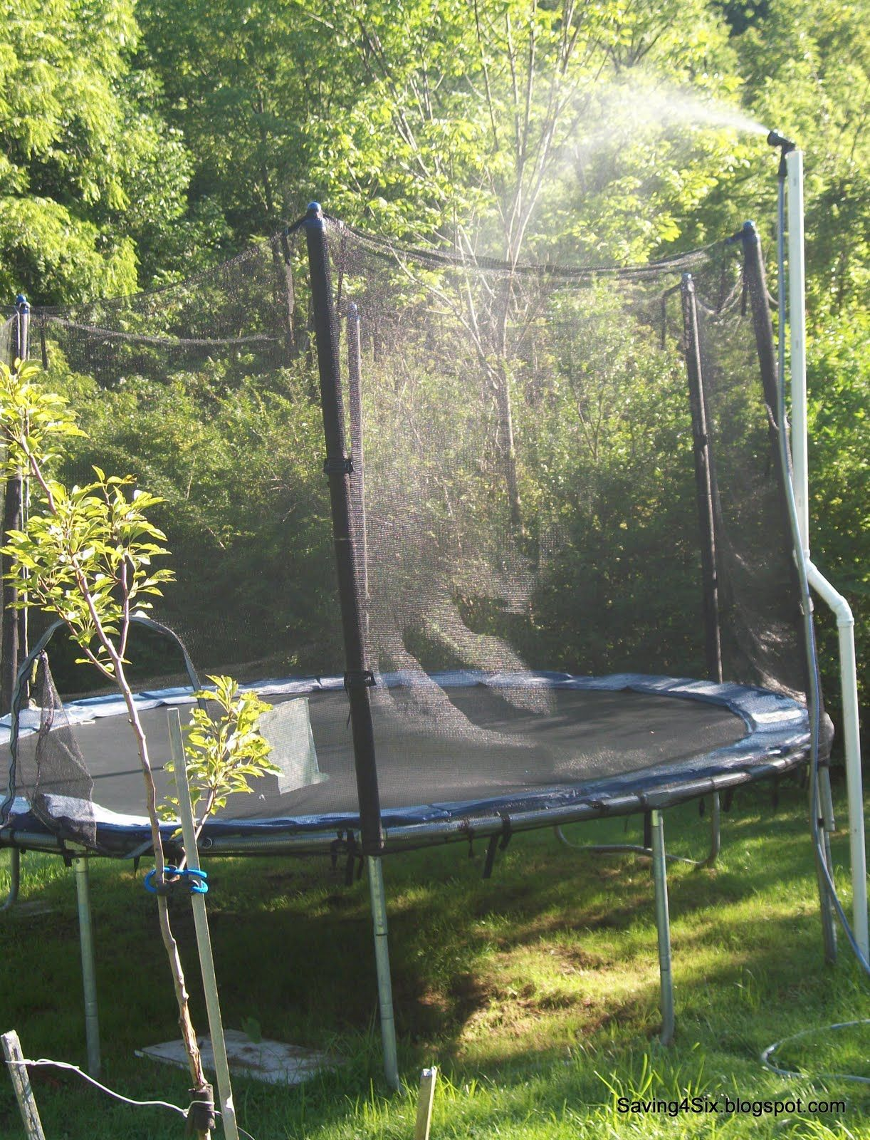 Trampoline Sprinkler Fun and Tutorial Backyard