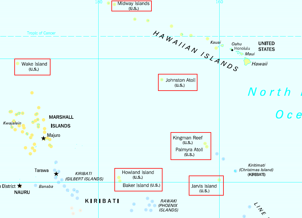 Worksheet. Locations of the United States Minor Outlying Islands in the