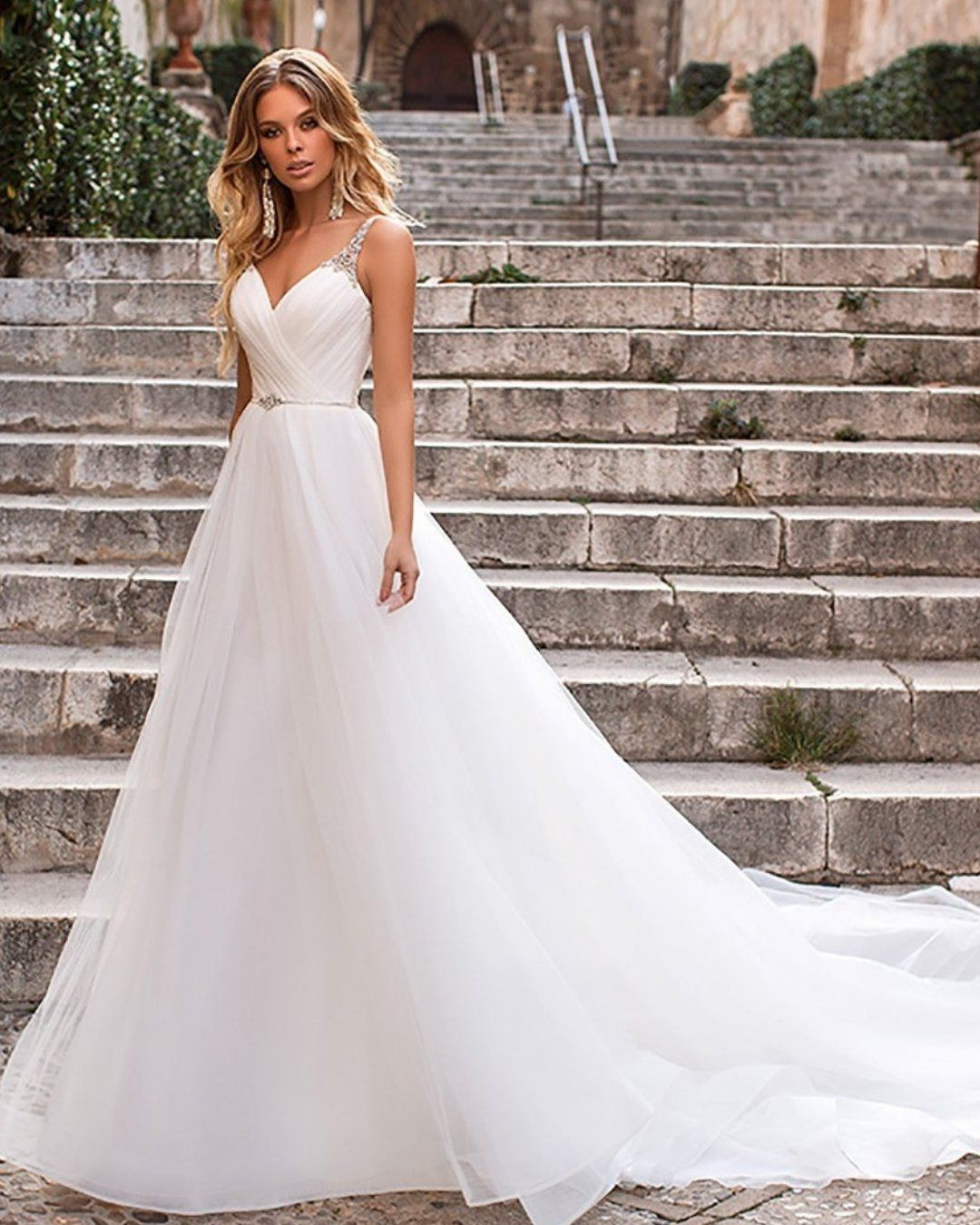 Classic White Wedding Dress Is Always A Safe Bet Tag Your Girls To See If They Like This Wedding Dresses Crystal Wedding Dresses Wedding Dress Gallery
