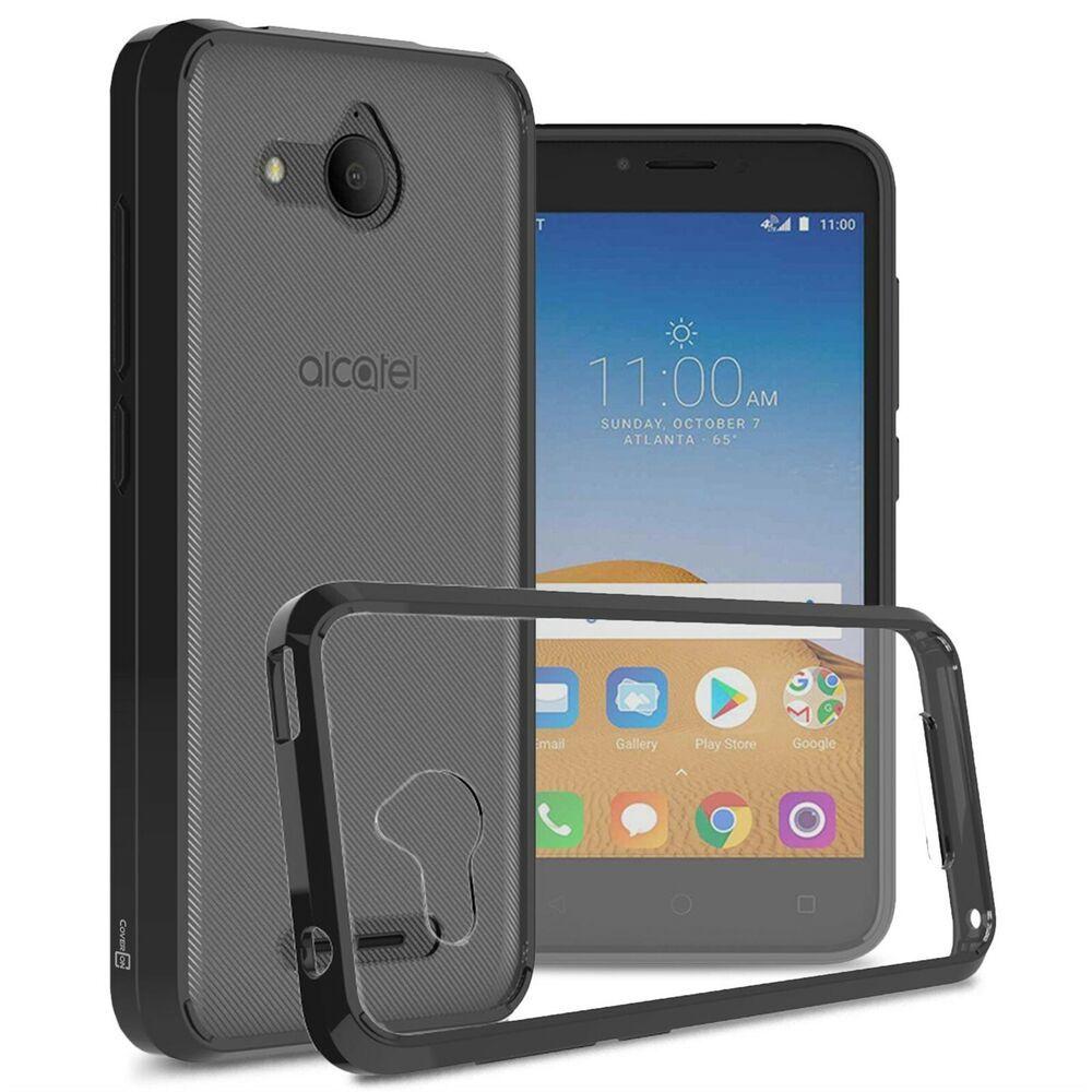 Clear w/ Black Rim Slim Fit TPU Bumpers Cover Phone Case for Alcatel