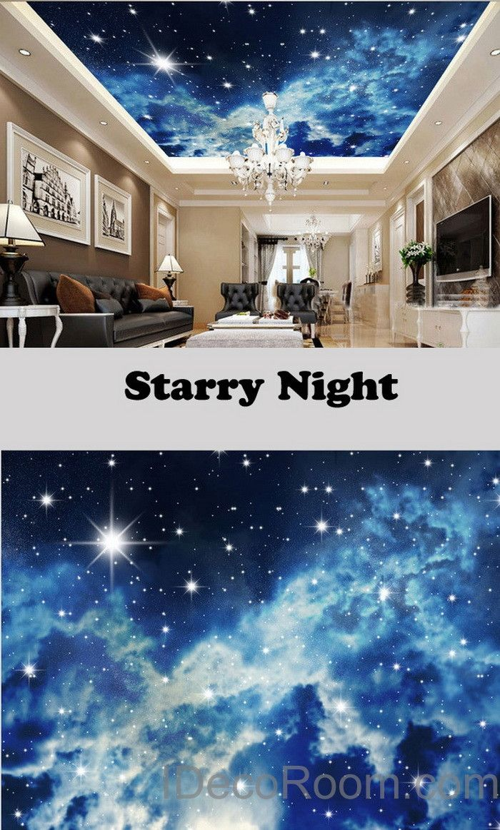 3D Starry Night Galexy Ceiling Wall Mural Wall Paper Decal Wall Art Print  Deco Kids Wallpaper Part 75