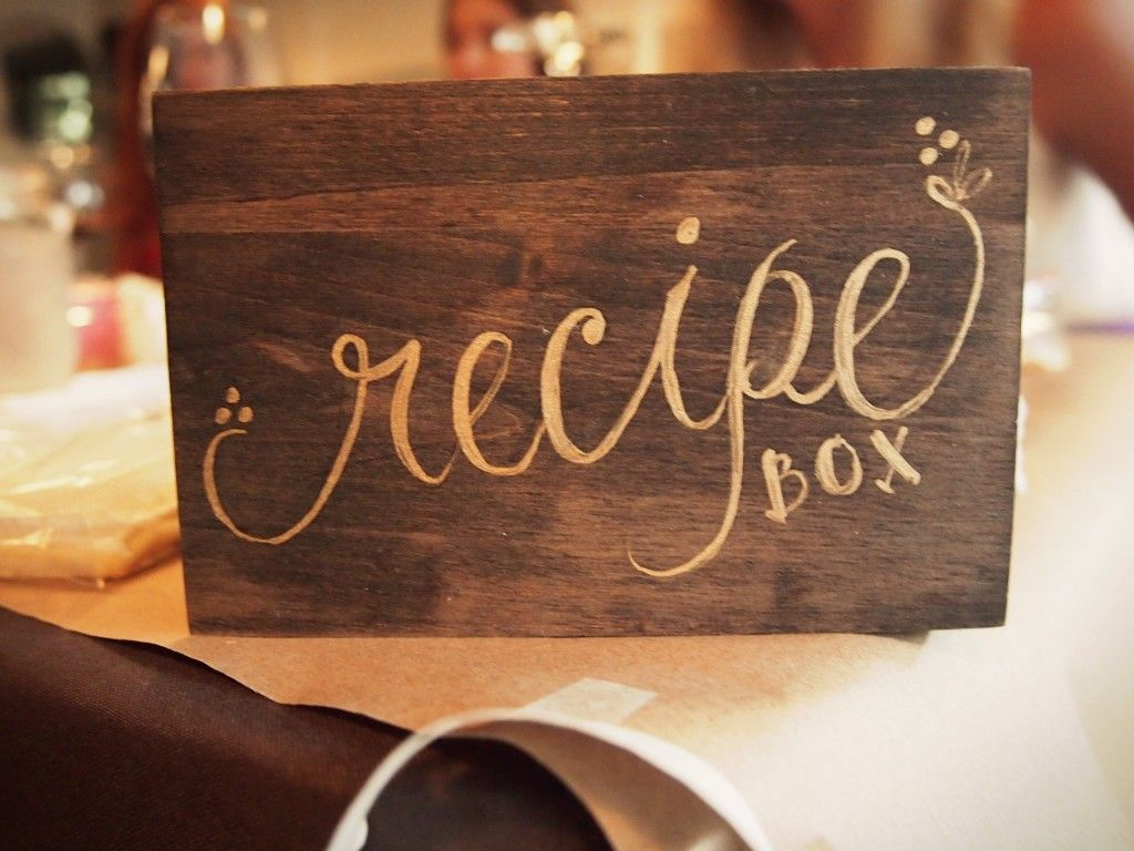 """Great idea: """"I found cute recipe cards from Rifle that fit our garden theme and used them as our guest book. We asked our guests to write us a recipe for love and a happy marriage and file it in our recipe box. These were both touching and hilarious to read after the wedding."""""""
