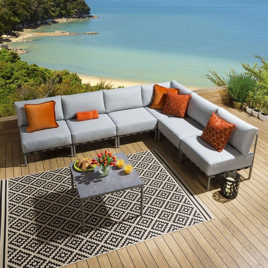 Outdoor Garden Corner Sofa Set L Shape 7 Piece Grey Ceramic Table L7 In 2020 Corner Sofa Set Sofa Set Corner Sofa
