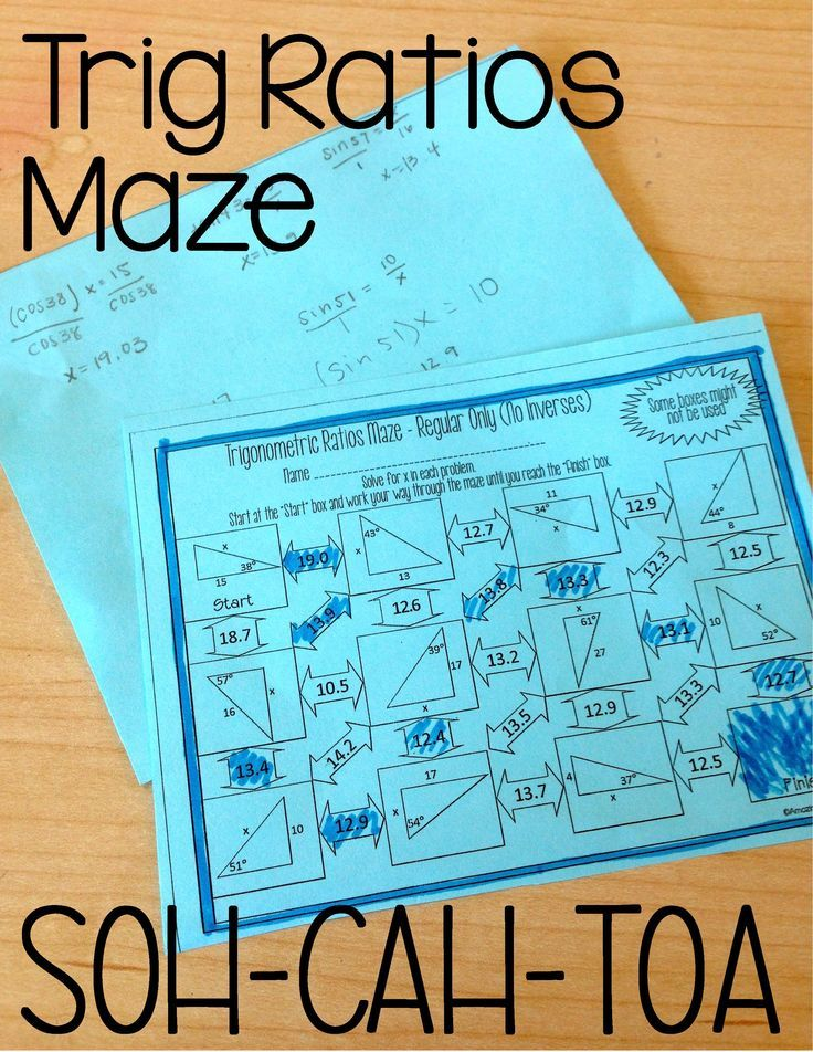 Printable Worksheets trig ratio worksheets Trigonometric Ratios (Sine, Cosine & Tangent ) Maze - Solving for ...