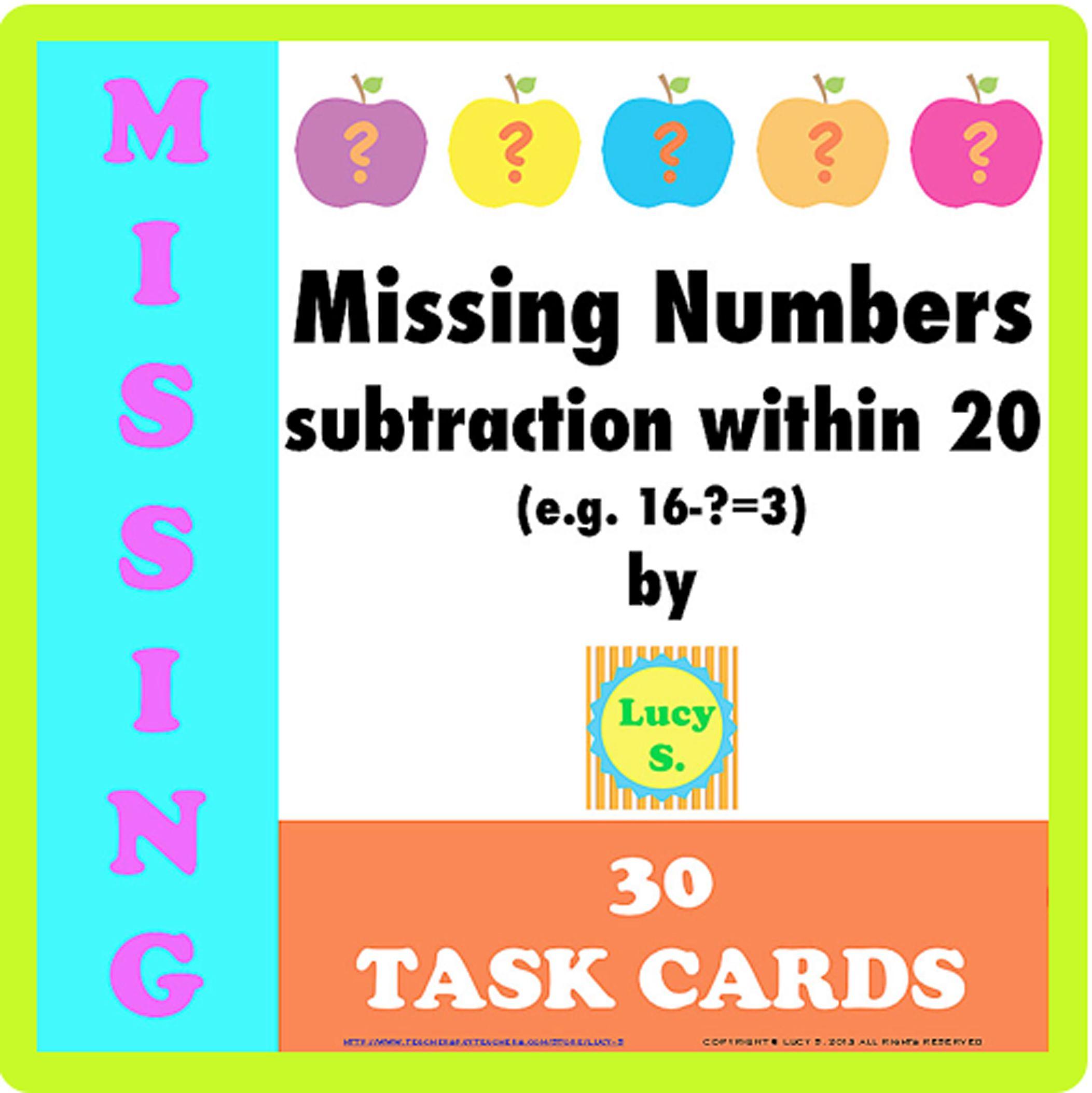 worksheet Missing Addend apple themed missing number task cards e g 16 3 3