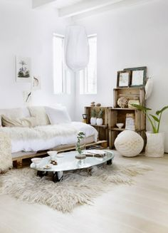 Natural living room, white and wood