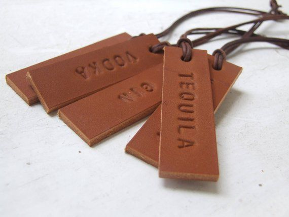 ef959b578a5a Set of 5 SMALL Decanter Tags Hand Stamped Leather Tags Gift