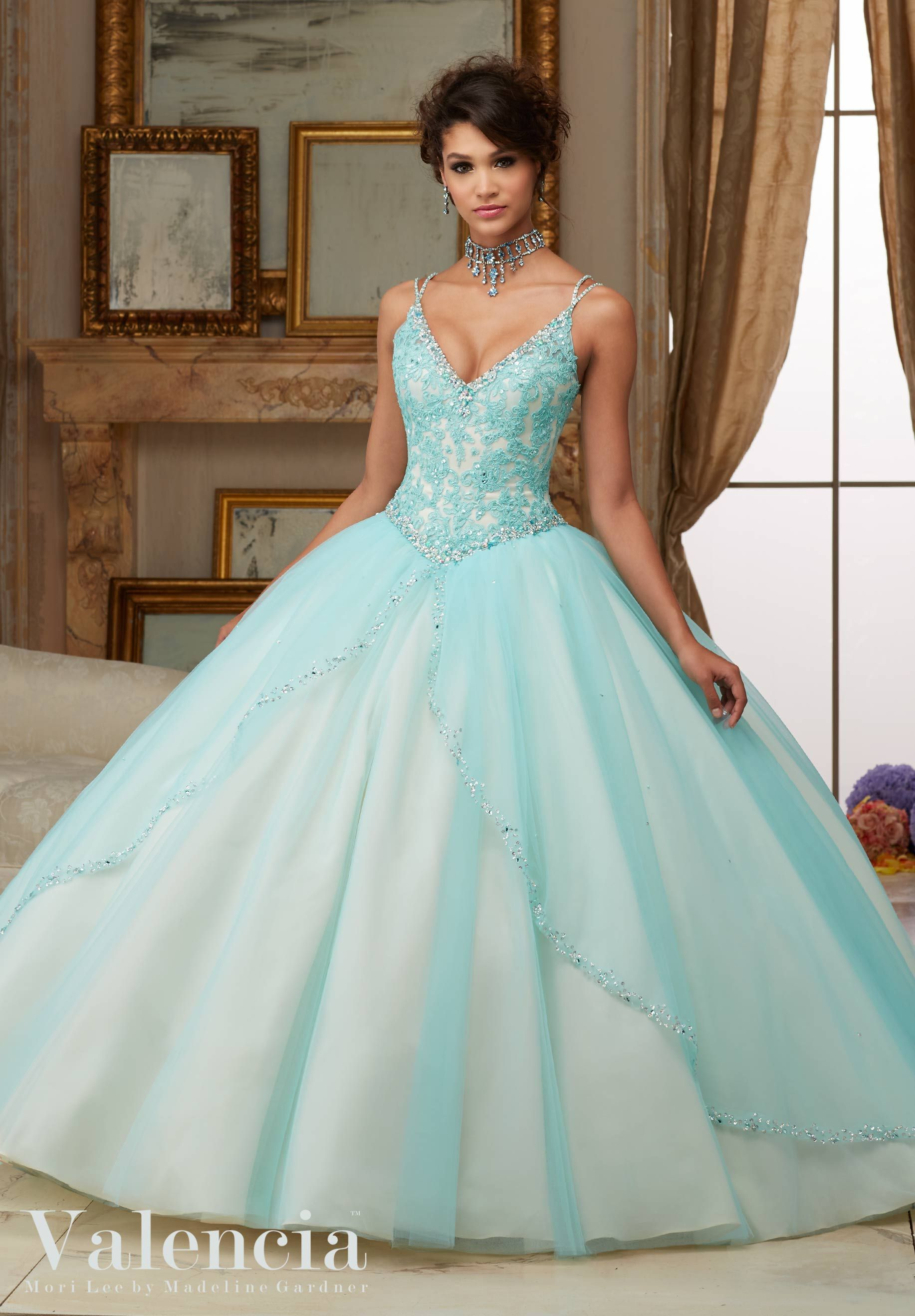 Beaded Lace Bodice on Princess Tulle Ball Gown Quinceanera Dress ...