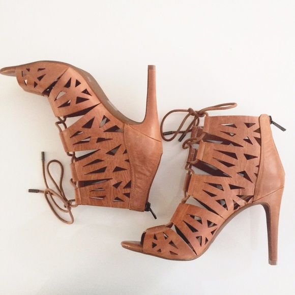 8e28e1acfa0 Jessica Simpson Emerita laser cut cage sandal heel New in box heels from Jessica  Simpson. Color is light luggage (brown). Size 8.5. Crisscrossed laces that  ...