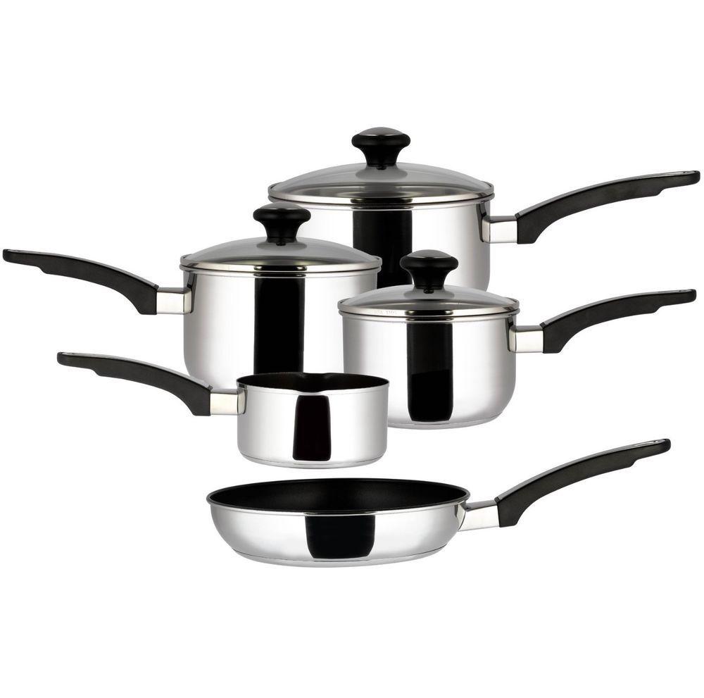 5 Piece Prestige Stainless Steel Cookware Saucepan Set Everyday