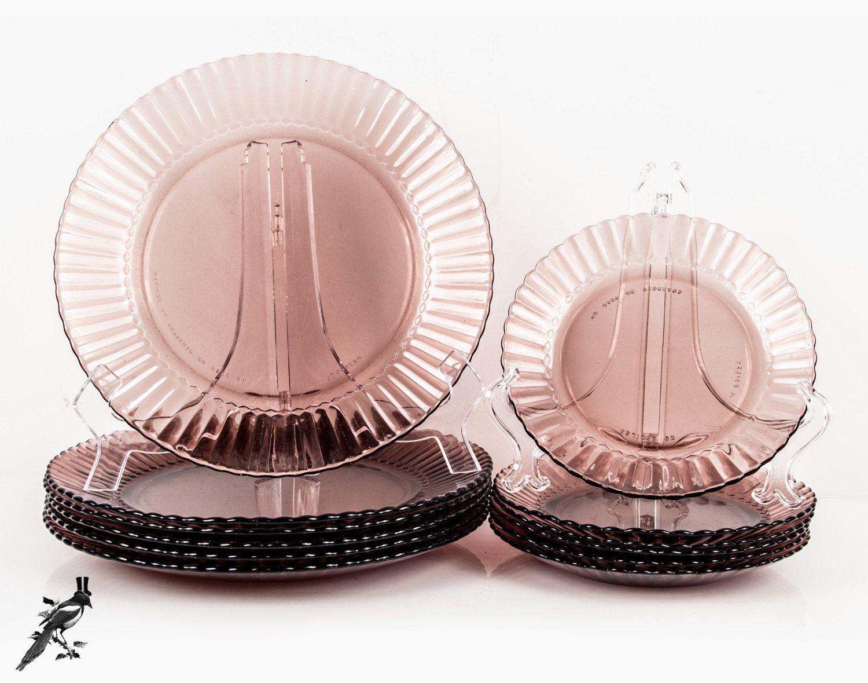 Forte Crisa Mexico Amethyst Glass Set 8 Salad Plates 8 Dinner Plates Purple Scalloped Edge Glass Plates Fortecrisa Vintage Dinnerware & Forte Crisa Mexico Amethyst Glass Set: 8 Salad Plates 8 Dinner ...