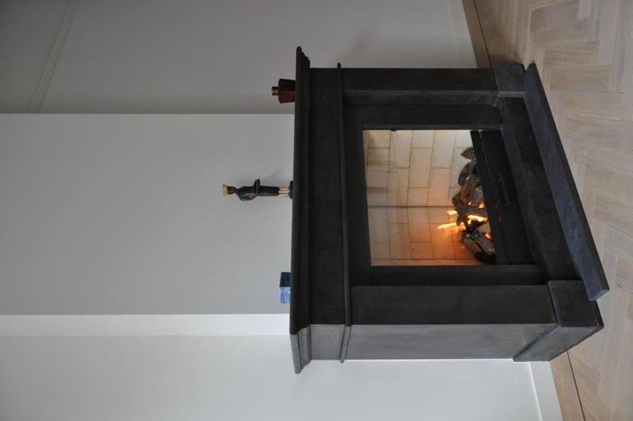 Jos harm maatwerk open gas haard met schoorsteenmantel model