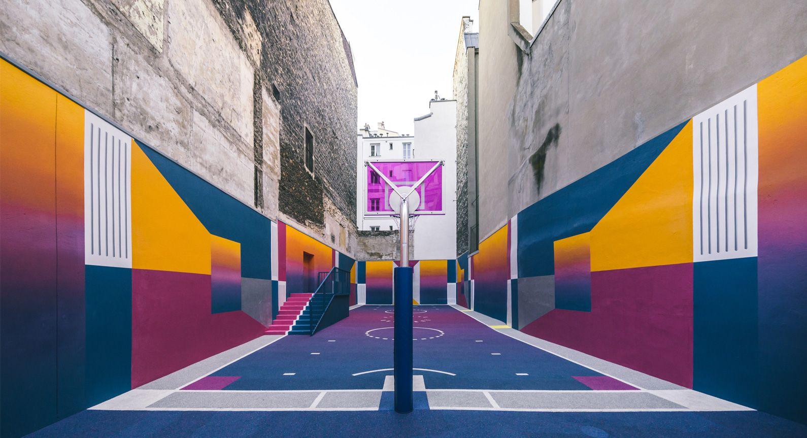 Sol Terrain De Basket paris' pigalle basketball court receives a spectacular