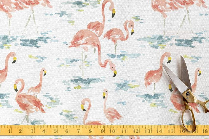 Flamingo Frenzy Fabric by Kirby Lee Smith at minted.com