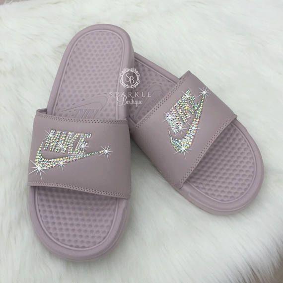 ad75d63c8a46 Nike Slides - Swarovski Nike - Crystal Sandals - Bedazzled Nike - Nike  Benassi JDI Slides - All Siz