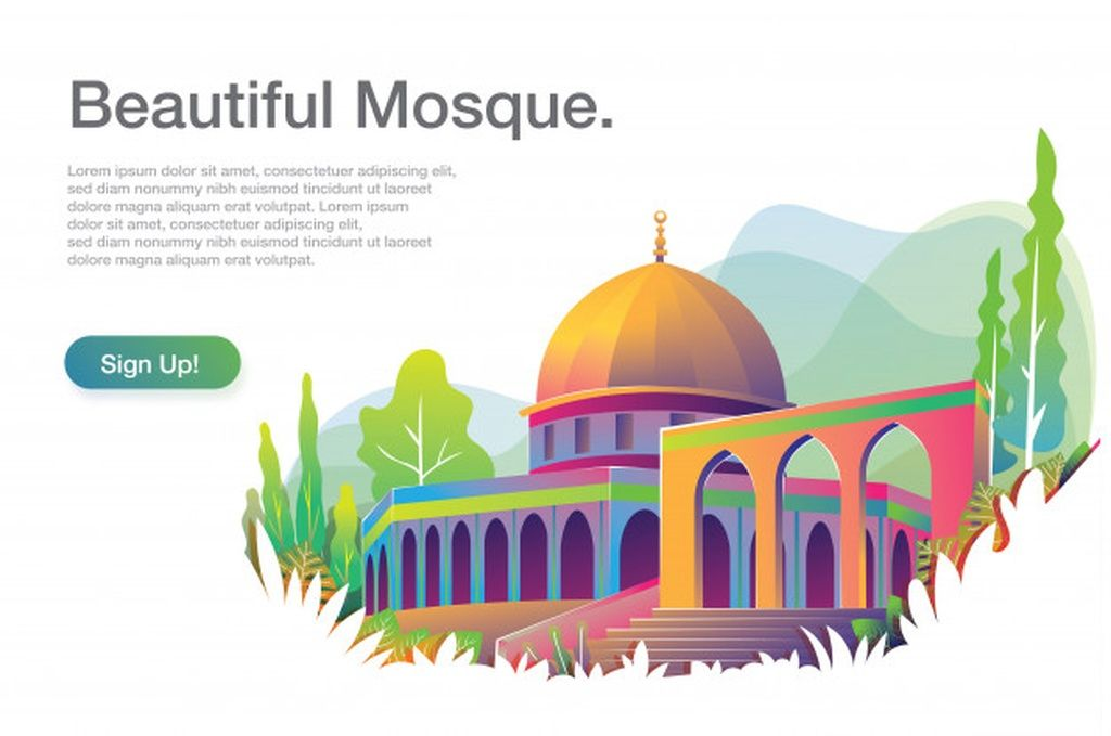 Beautiful mosque illustration with text template #paid, , #Affiliate, #AD, #mosque, #template, #text, #Beautiful