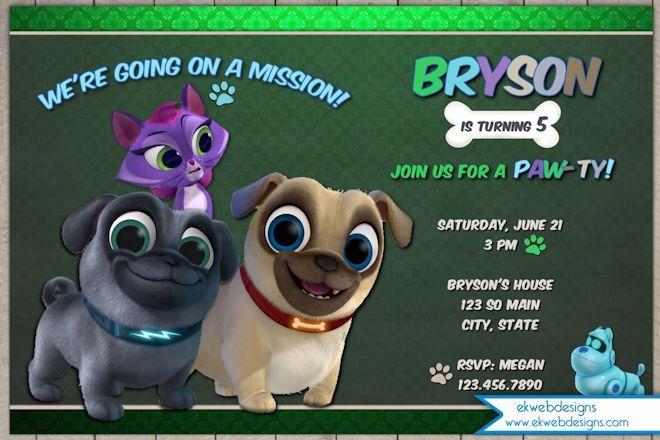 Disney Puppy Dog Pals Birthday Invitation Puppy Birthday Invitations Birthday Invitations Kids Birthday Invitations