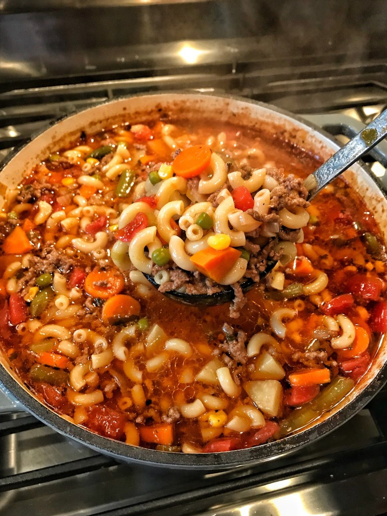 Macaroni & Hamburger Soup - The Tipsy Housewife