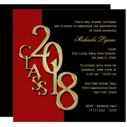 Class of 2018 elegant gold and red invitation pinterest custom class of 2018 elegant gold and red card graduation party invitations card cards cyo grad celebration filmwisefo