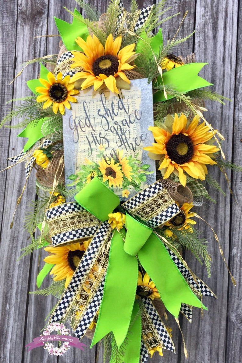 Sunflower Fall Wreath, Religious Front Door Wreath, Sunflower Swag, God She His Grace on Thee, Autumn Wreath, Harvest Wreath images