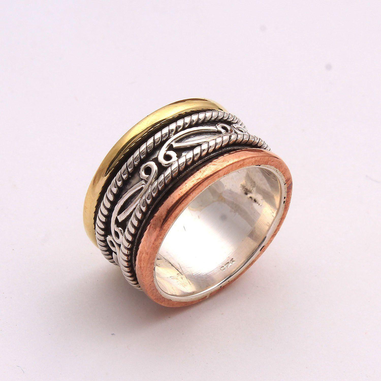 Handmade Silver ring,Spinner band Silver jewelry Charming Spinner ring Anxiety spinning ring,Silver meditation ring,thumb ring,Fidget ring