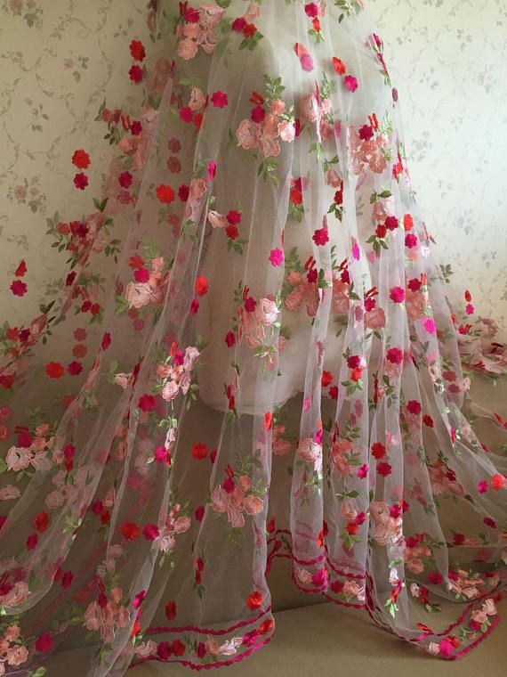 Gorgeours Lace Fabric Floral Embroidered Tulle Fabric Dress Bridal Veil  Floral Lace Fabric By The Ya 446d2bd99a9f