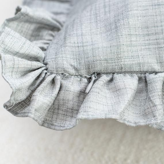 Grey Solid Throw Pillow Cover with Frills, 18x18 inch - Shabby Chic, Farmhouse, Boho Decor
