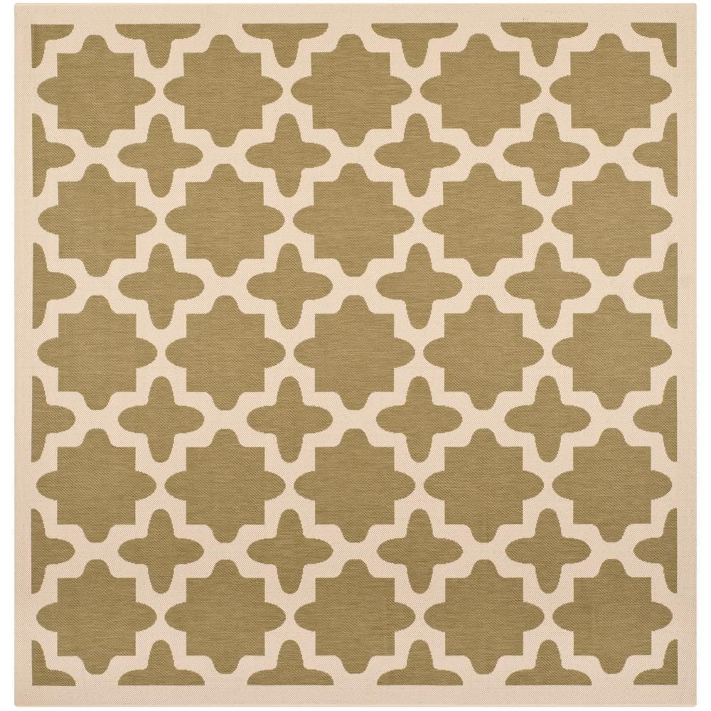 Safavieh Courtyard Safavieh Courtyard Green Beige 5 Ft X 5 Ft Indoor Outdoor Square