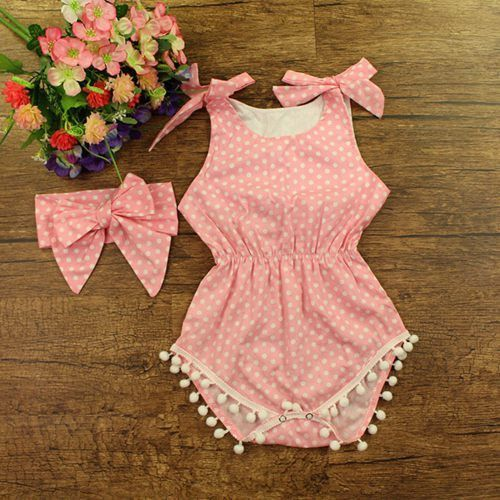 9916fa09d171 Cute Pink Romper for your Princess! Collar  O-Neck Closure Type  Belt  Material  Cotton Sleeve Length  Sleeveless