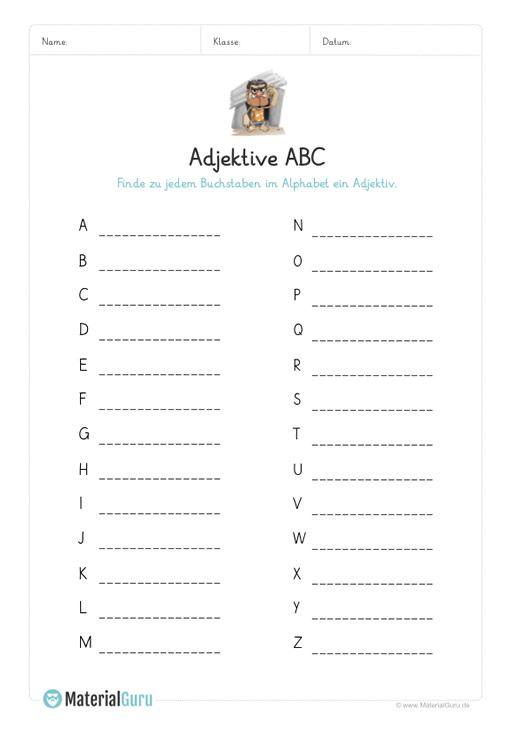 ein kostenloses arbeitsblatt zum thema adjektive auf dem die sch ler zu jedem buchstaben in abc. Black Bedroom Furniture Sets. Home Design Ideas