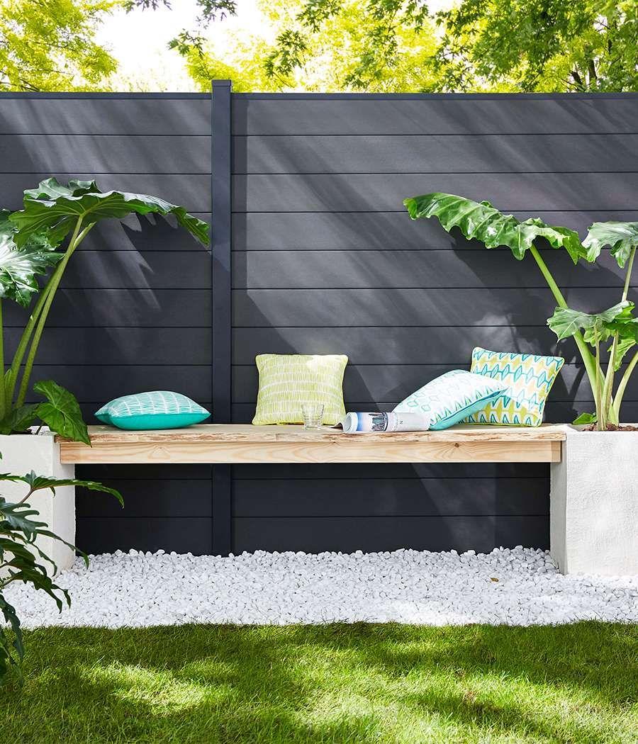 terrasse graviers blancs jardin Castorama | Amenagement ...