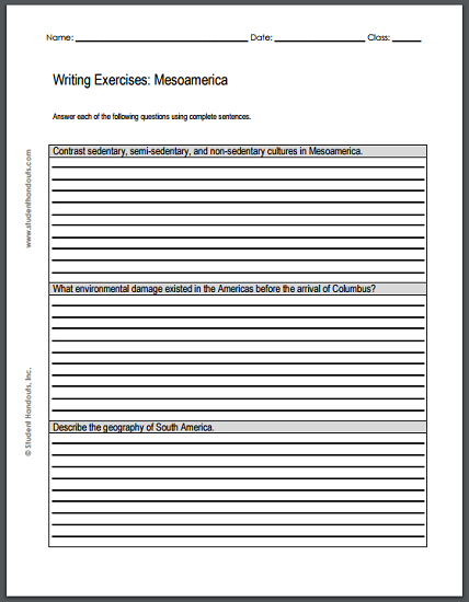 mesoamerican civilizations writing exercises printable  mesoamerican civilizations writing exercises printable worksheet featuring three short essay questions