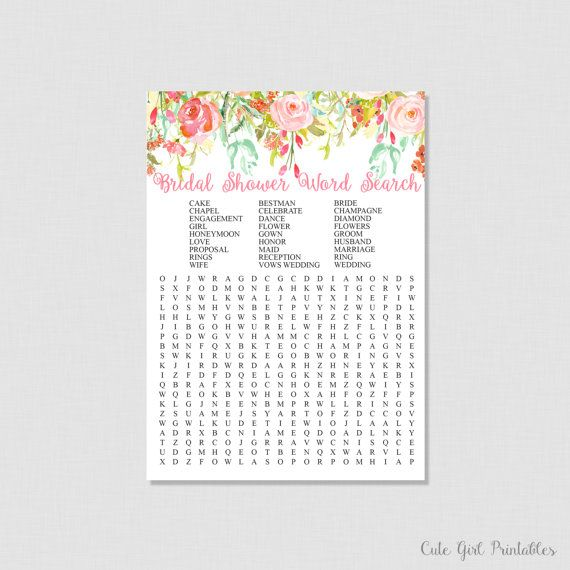 modern bride bridal shower word search bridal shower game printables coral crossword puzzle