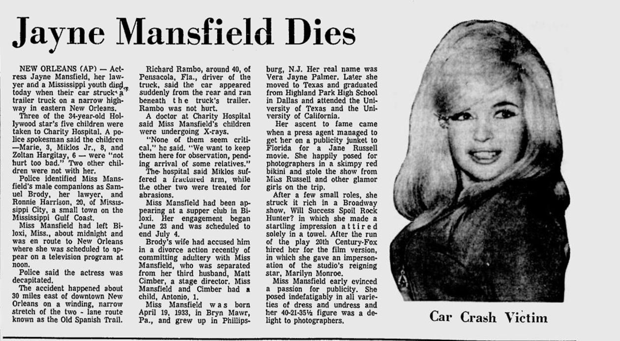 Jayne mansfield dies hollywood history 1 pinterest for How many children did jayne mansfield have