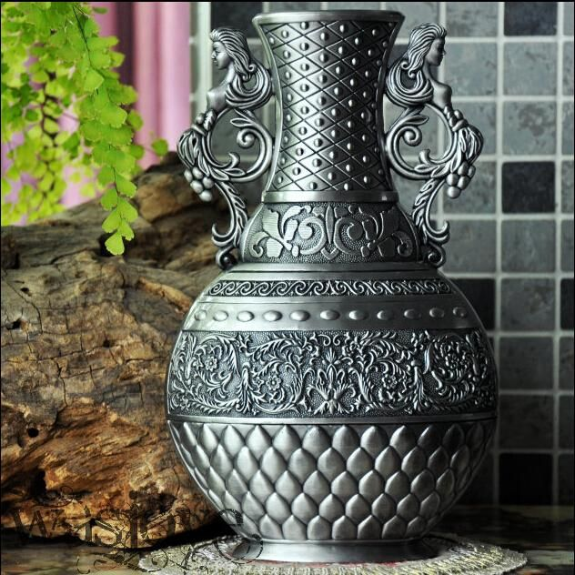 Classical Metal Retro Decorative Bottle Vase Tabletop Vase Flower