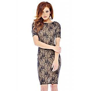AX Paris- -Women's Bonded Lace 3/4 Sleeve Dress