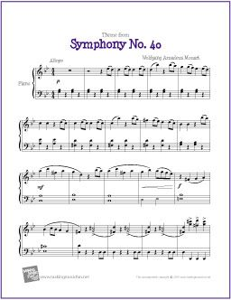 Theme From Symphony No 40 Mozart With Images Piano Sheet