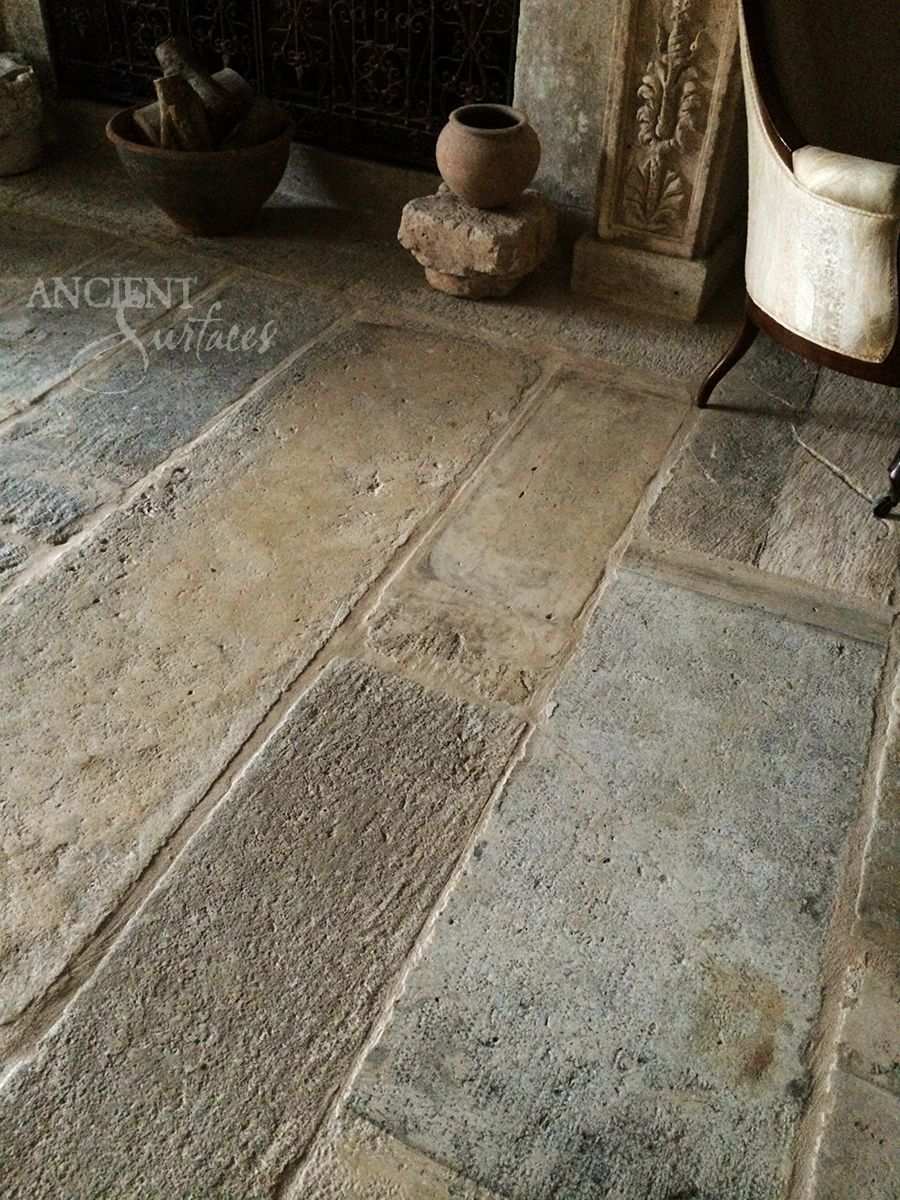 Antique Biblos Stone Flooring Pavers On A Stair Landing In The