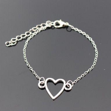 Love Vintage Silver Plated Blue Eye Peace Owl Heart Bracelet For Women Jewelry Charm Bracelets Bangles