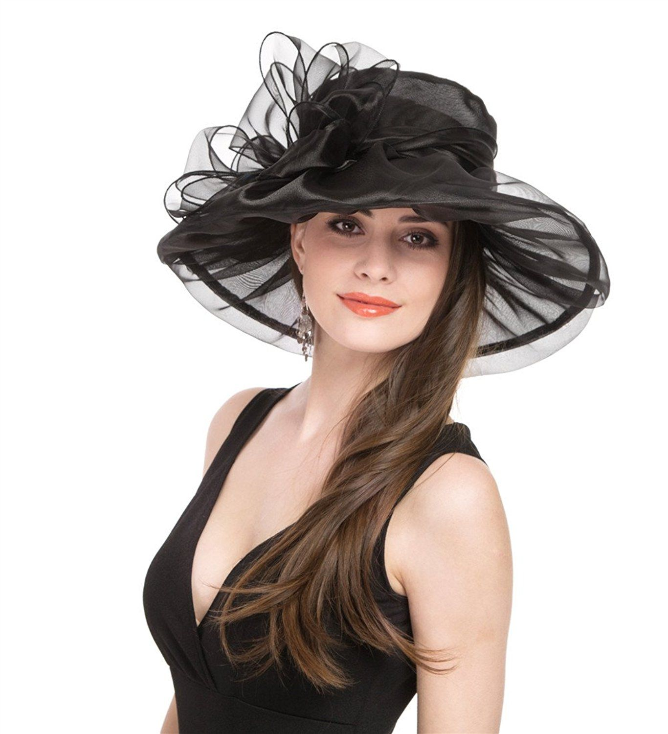 Lucky Leaf Women Kentucky Derby Church Cap Wide Brim Summer Sun Hat for Party