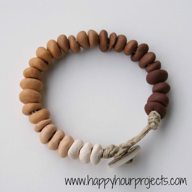 Ombre Clay Bead Bracelet - easy and inexpensive!