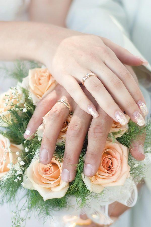 Brautnagel Design Pfirsich Schlicht Florale Muster Hochzeit