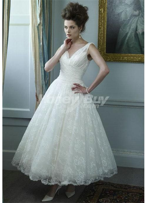 Ankle Length Tulle V Neck Wedding Dress Bridal Gowns 2013..love this ...