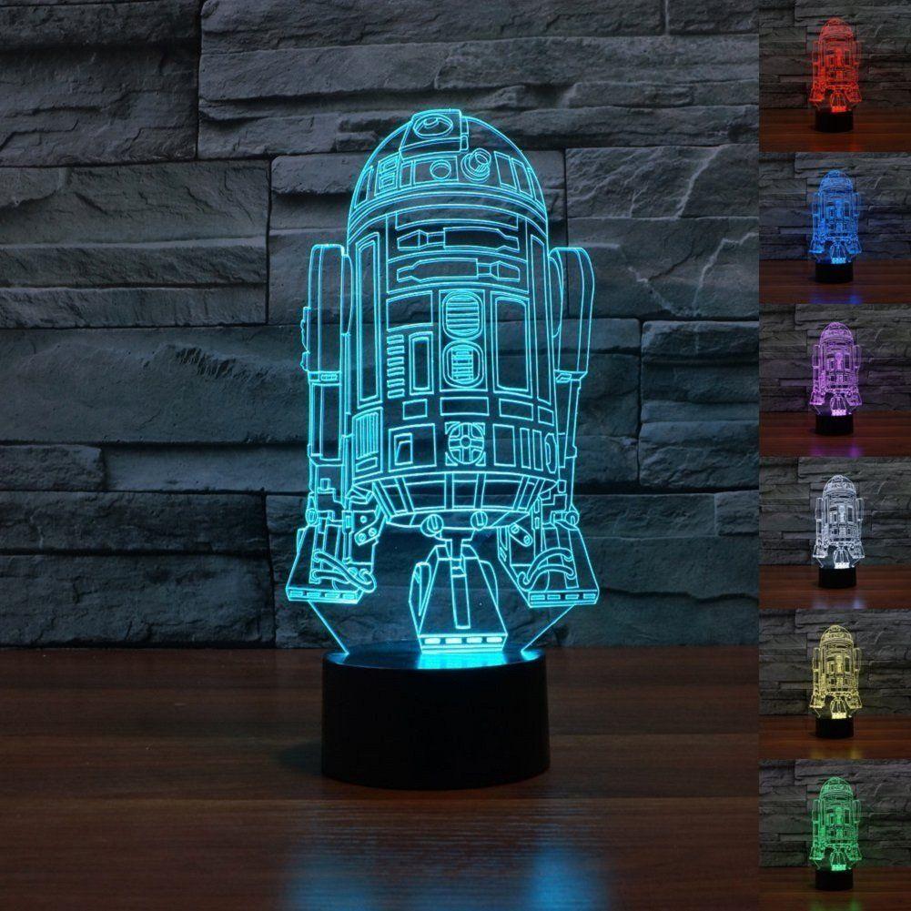 Smartera Star Wars Force Awaken 7 Farbwechsel Roboter R2d2 Touch 3d Optische Tauschung Led Schreibtisc Schreibtischlampe Led Star Wars Lampe Schreibtischlampe
