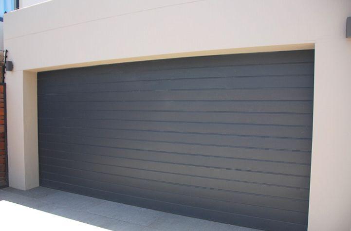 Double Aluminium Sectional Overhead Garage Door Charcoal Horizontal Slats Garage Doors Aluminium Garage Doors Garage