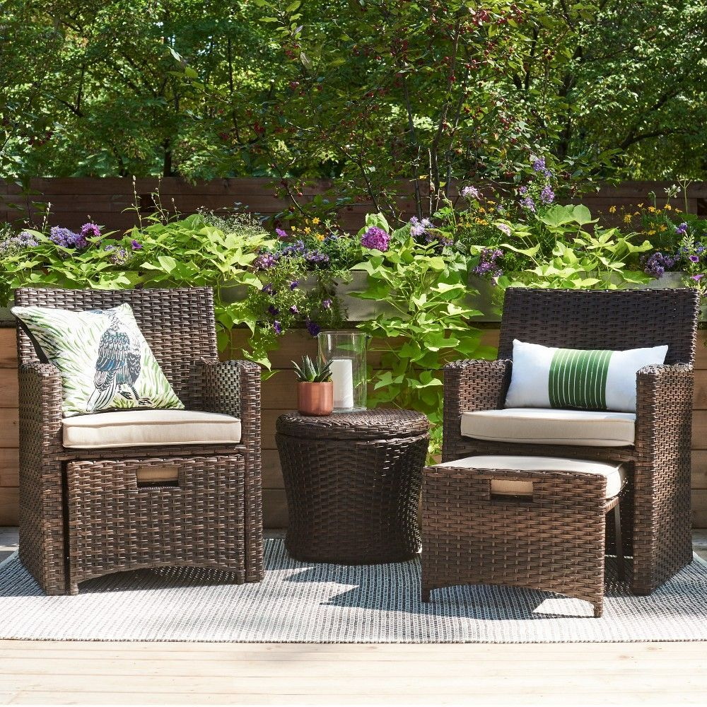 Halsted 5 pc wicker small space patio furniture set tan threshold