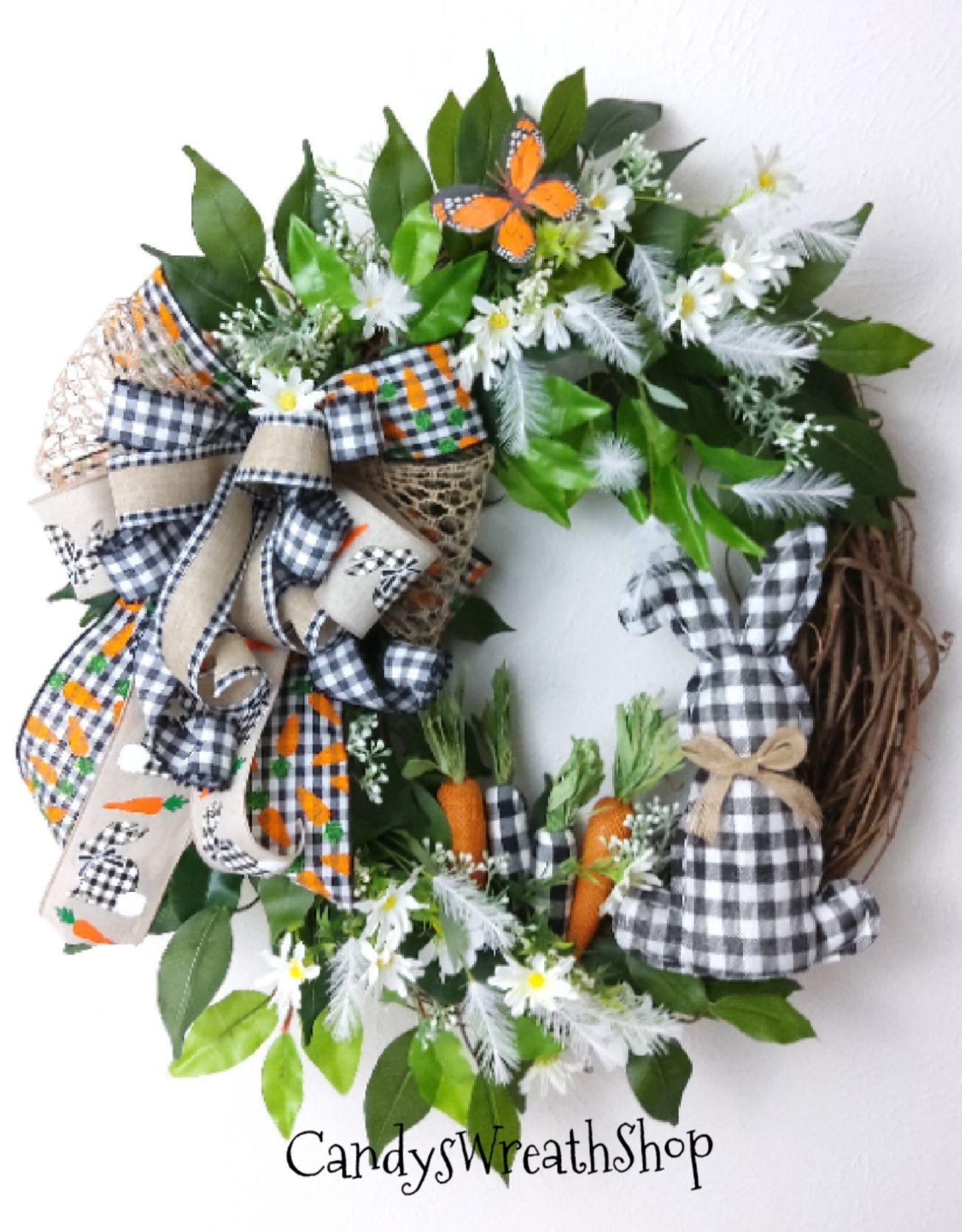 Photo of Easter Wreath, Spring Wreath, Easter Grapevine, Bunny Wreath, Spring Floral, Farmhouse Wreath, Welcome Wreath, Buffalo Plaid, Rabbit Wreath